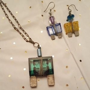 Spark plug necklace and earrings